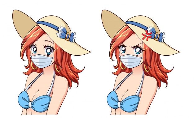 Anime leuke vrouw zomer hoed, bikini en medisch masker dragen. set van twee verschillende uitdrukkingen. coronavirus-toerisme. hand getekende vector illustratie.