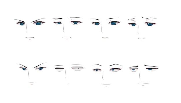 Anime manga jongen uitdrukkingen ogen set