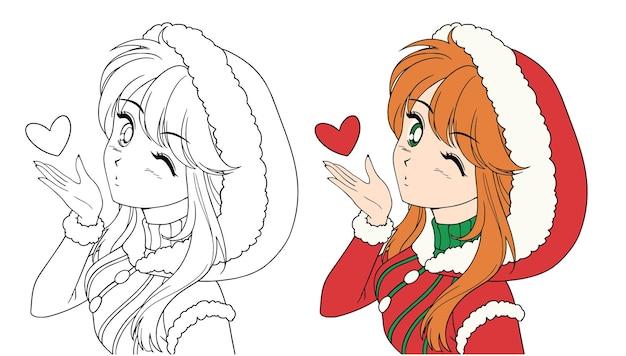 Anime manga meisje blaast een kus kerst kerstman kostuum contour foto voor kleurboek