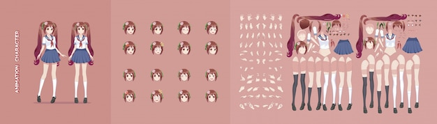 Anime manga meisje karakter animatie bewegingsontwerp