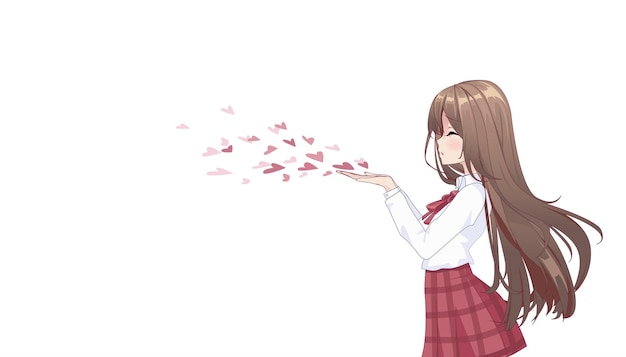 Anime-mangameisje die een kus blazen die op wit wordt geïsoleerd