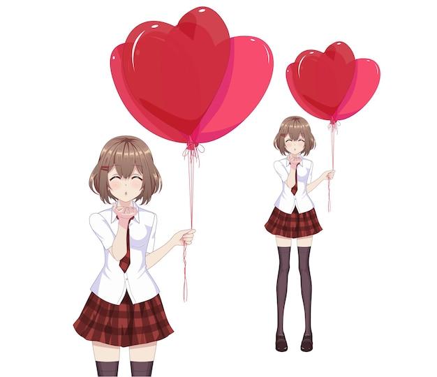Anime-mangameisje houdt hartvormige ballonnen vast