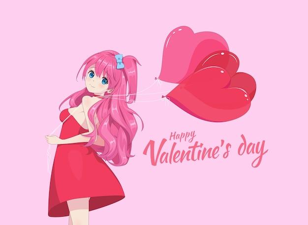 Anime-mangameisje in jurk houdt hartballonnen
