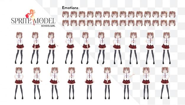 Anime-mangameisje, stripfiguur in japanse stijl. in een wit overhemd, een rode rok in een kooi, een das en zwarte kousen. sprite karakter van volledige lengte voor game visuele roman. set van emoties.