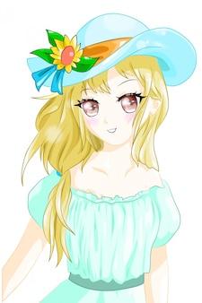 Anime meisje geel haar blauwe hoed zomer