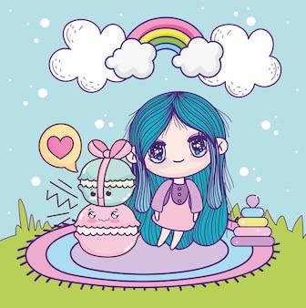 Anime meisje kawaii koekjes