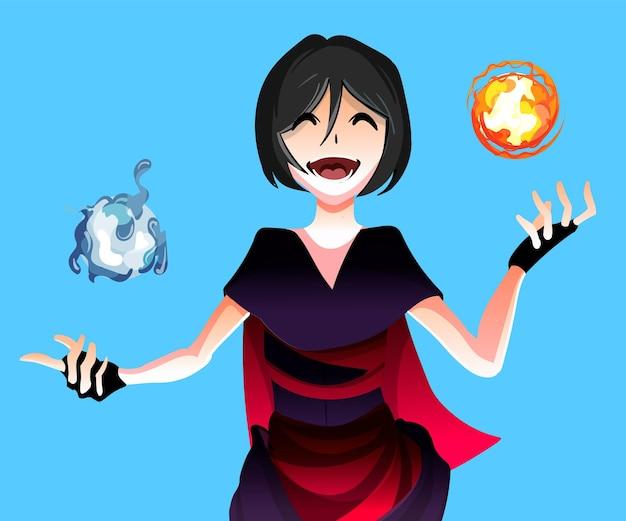 Anime meisje tovenares met de magie van de elementen water en vuur bollen illustratie