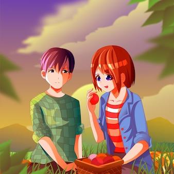 Anime-mensen met gradiënt die picknicken