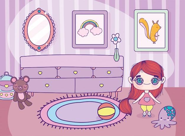 Anime schattig meisje met speelgoed meubels tapijt en frames foto