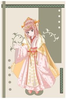 Anime-stijlkarakter een prachtige keizerpartner van de oude koninkrijksillustratie