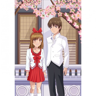 Anime-vrienden op straat