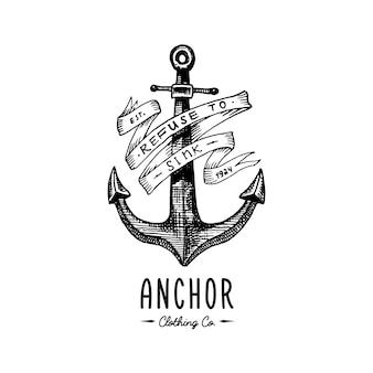 Anker gegraveerd vintage in oude hand getekende of tattoo-stijl, tekening voor mariene, aquatische of nautische thema, houtsnede, blauw logo