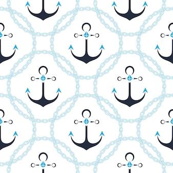Anker in een frame met een ketting. naadloze zee patroon.