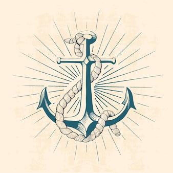Anker met touw, hand getrokken illustratie
