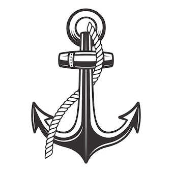 Anker met touw in vintage zwart-wit stijl illustratie