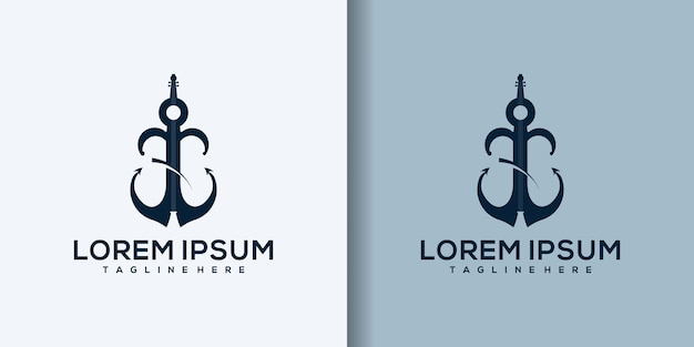 Anker muziek logo sjabloon illustratie