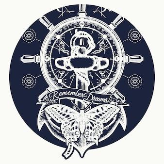 Anker, stuurwiel, vlinder, tattoo