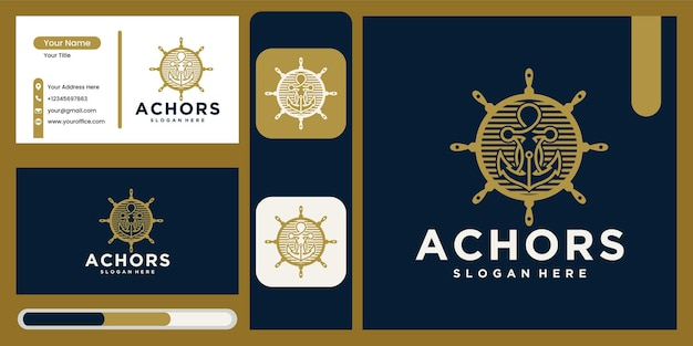 Anker technologie logo pictogram ontwerpsjabloon, business symbool of teken. anker technologie vector met visitekaartje weergave logo anker navy ship marine sjabloonontwerp