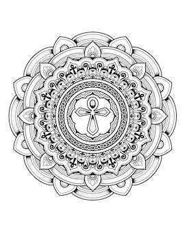 Ankh decoratief mandala-ontwerp. kleurplaat