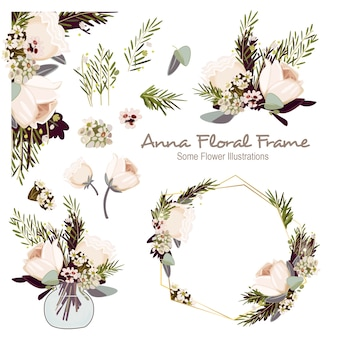 Anna geometrisch bloemenkaderornament