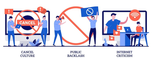 Annuleer cultuur, openbare weerslag, illustratie van internetkritiek met kleine mensen