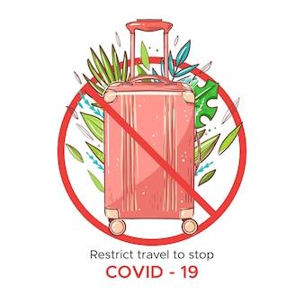 Annuleer vluchten om het coronavirus te stoppen. roze reistas met palmbladeren