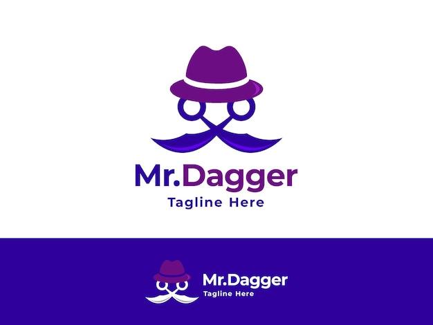 Anoniem gangster silhouet creatief modern uniek logo concept