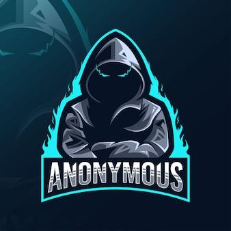 Anoniem mascotte logo esport ontwerp