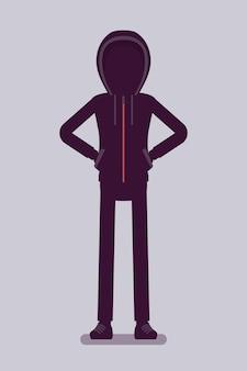 Anoniem silhouet met verborgen gezicht. hacker donker abstract lichaam, bedekt met capuchon, online persoon niet geïdentificeerd bij naam, onbekende anonieme gebruiker, incognito met kwade bedoelingen. vector illustratie