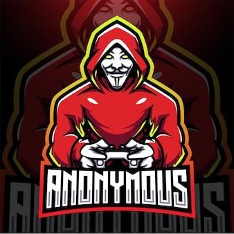 Anonieme gamer esport mascotte logo ontwerp