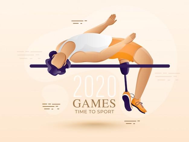 Anonieme gehandicapte mens hoogspringen dwarsbalk op patel peach achtergrond voor game time to sport.