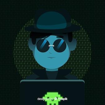 Anonieme hacker concept met platte ontwerp