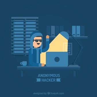 Anonieme hacker met plat ontwerp