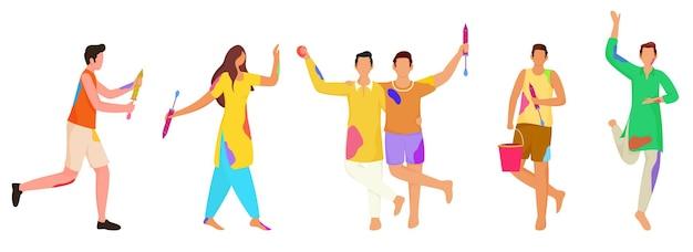 Anonieme indiase jongeren vieren holi festival samen op witte achtergrond.