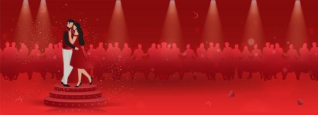 Anonieme jonge paar dansen op het podium voor valentijnsdag concept