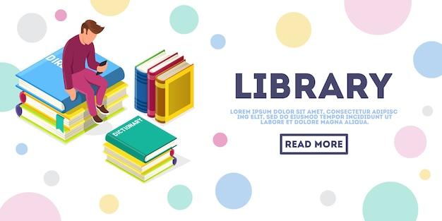 Anonieme jongeman zit omringd door stapels boeken en kijkt naar smartphone. online onderwijs, mediabibliotheek, e-learning isometrisch vectorconcept voor web, bestemmingspagina. plaats voor tekst, kopieer ruimte.