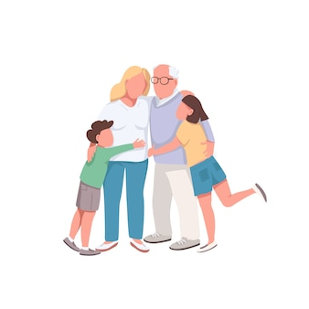 Anonieme karakters van verschillende generaties in egale kleur. grootvader knuffel dochter en kleinkinderen. gelukkige familie geïsoleerde cartoon afbeelding
