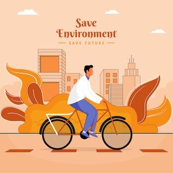 Anonieme man fietsen met bladeren en gebouwen op licht oranje achtergrond.