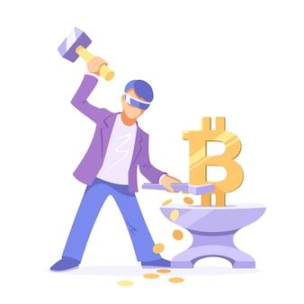 Anonieme mijnwerker maakt een bitcoin op het aambeeld als een smid