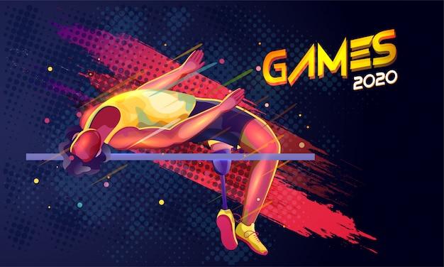 Anonieme paralympische man hoogspringen dwarsbalk en penseelstreek op blauwe, olympische spelen 2020.