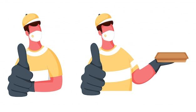 Anonieme twee mannen dragen medisch masker, handschoenen met duimen opdagen en pakket op witte achtergrond.