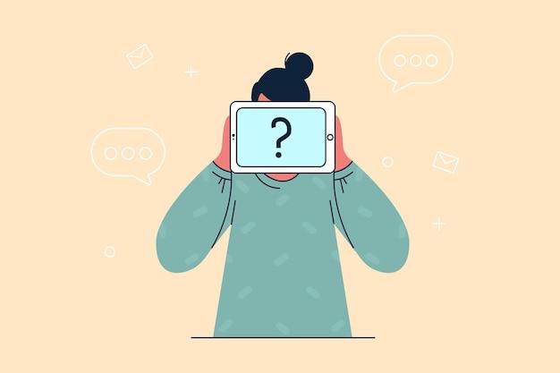 Anonimiteit, zelfidentificatieconcept. onherkenbaar vrouw stripfiguur permanent met onzichtbaar gezicht en vraagteken in handen in plaats van hoofd als masker vectorillustratie