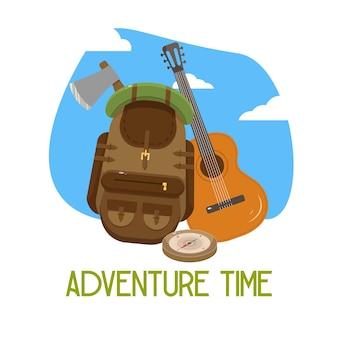 Ansichtkaart, avontuur tijd. vector illustratie. wandelrugzak en gitaar.