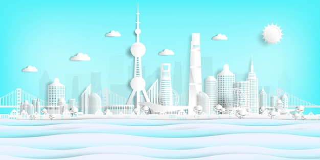 Ansichtkaart en reisaffiche van wereldberoemde landmarks papier gesneden stijl