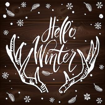 Ansichtkaart hallo winter met schattige elementen