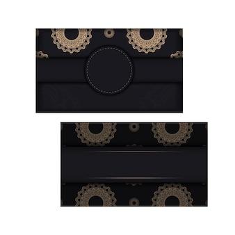 Ansichtkaart in zwarte kleur met een mandala bruin patroon voor uw felicitaties.