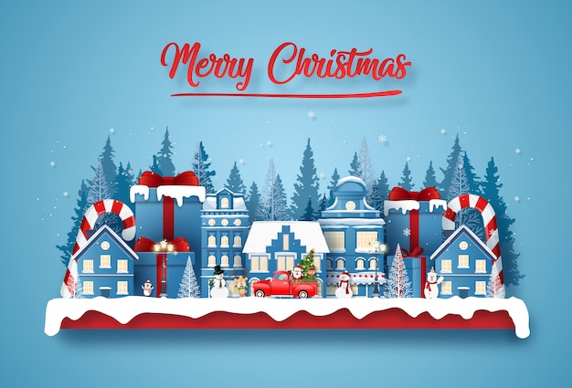 Ansichtkaart kerstfeest in de stad met de kerstman en schattig karakter