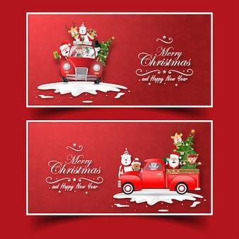 Ansichtkaart kerstman en vriend met kerstvrachtwagen