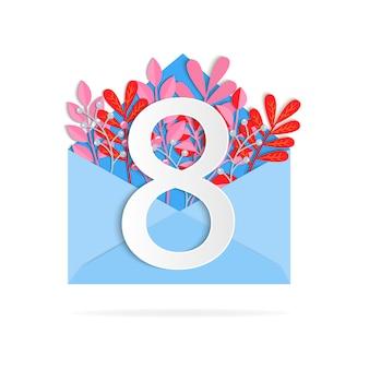 Ansichtkaart met bloemen en bladeren voor vrouwendag in maart en een ansichtkaart met envelop