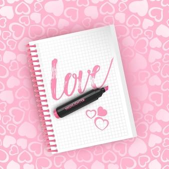 Ansichtkaart met de inscriptie liefde.